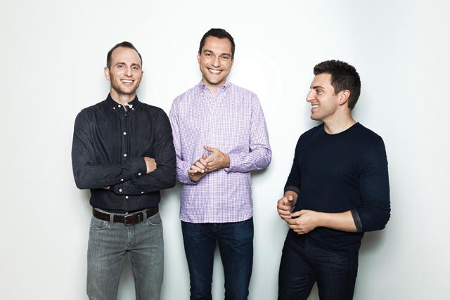 Da esquerda para direita, os fundadores e sócios do Airbnb: Joe Gebbia, Nathan Blecharczyk e Brian Chesky