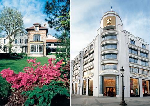 Ontem e hoje: À esquerda, a casa em que moraram quatro gerações da família Vuitton e à direita, a loja mais icônica, nos Champs Elysées, em Paris. Imagem: Istoé Dinheiro